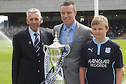 Promotion winning captain Gavin Rae, 1962 Championship winning goalkeeper Pat Liney and 13 years old Dundee fan Blair Kinmont after raising the SPFL Championship flag - Dundee v Kilmarnock - SPFL Premiership at Dens Park<br /> <br />  - &copy; David Young - www.davidyoungphoto.co.uk - email: davidyoungphoto@gmail.com