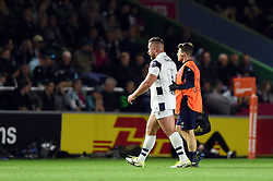 Max Lahiff of Bristol Bears leaves the field for a head injury assessment - Mandatory byline: Patrick Khachfe/JMP - 07966 386802 - 20/09/2019 - RUGBY UNION - The Twickenham Stoop - London, England - Harlequins v Bristol Bears - Premiership Rugby Cup