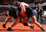 07 MARCH 2009: Elmhurst's Mark Corsello (right) tries to control MIT's Glenn Geesman in the 285-pound quarterfinal at the 2009 NCAA Division III Wrestling Championships at the US Cellular Center in Cedar Rapids, Iowa on Friday March 7, 2009. Corsello won 4-0.
