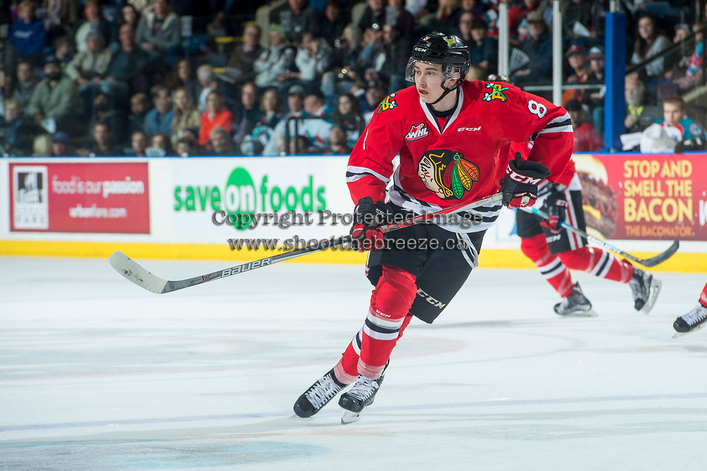 KELOWNA, CANADA - APRIL 8: Cody Glass #8 of the Portland Winterhawks skates against the Kelowna Rockets on April 8, 2017 at Prospera Place in Kelowna, British Columbia, Canada.  (Photo by Marissa Baecker/Shoot the Breeze)  *** Local Caption ***