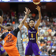 UNCASVILLE, CONNECTICUT- JULY 15: Alana Beard #0 of the Los Angeles Sparks in action during the Los Angeles Sparks Vs Connecticut Sun, WNBA regular season game at Mohegan Sun Arena on July 15, 2016 in Uncasville, Connecticut. (Photo by Tim Clayton/Corbis via Getty Images)