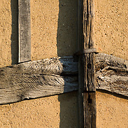 Church of St. Mary the Virgin in Sprotbrough, Doncaster, England. Detail of the  ancient south door and its old timber beams.