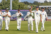 Brydon Carse leaves the field having taken 6 wickets during the Specsavers County Champ Div 2 match between Durham County Cricket Club and Leicestershire County Cricket Club at the Emirates Durham ICG Ground, Chester-le-Street, United Kingdom on 20 August 2019.
