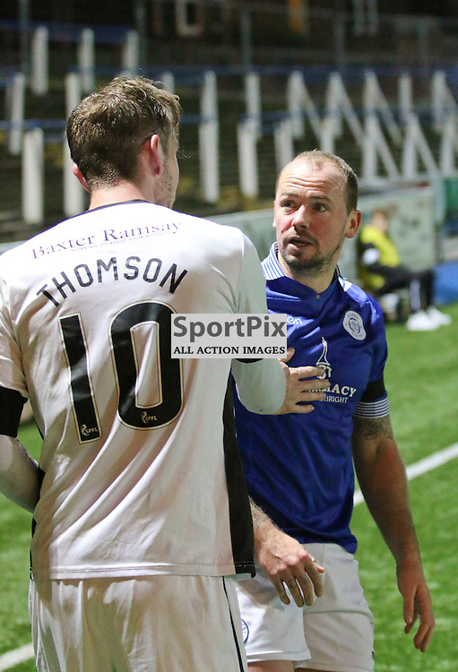 Robert Thomson and Jamie Hamill have a bit of handbags together during the Queen of the South v Dumbarton Scottish Championship 03 December2016 <br /> <br /> (c) Andy Scott | SportPix.org.uk
