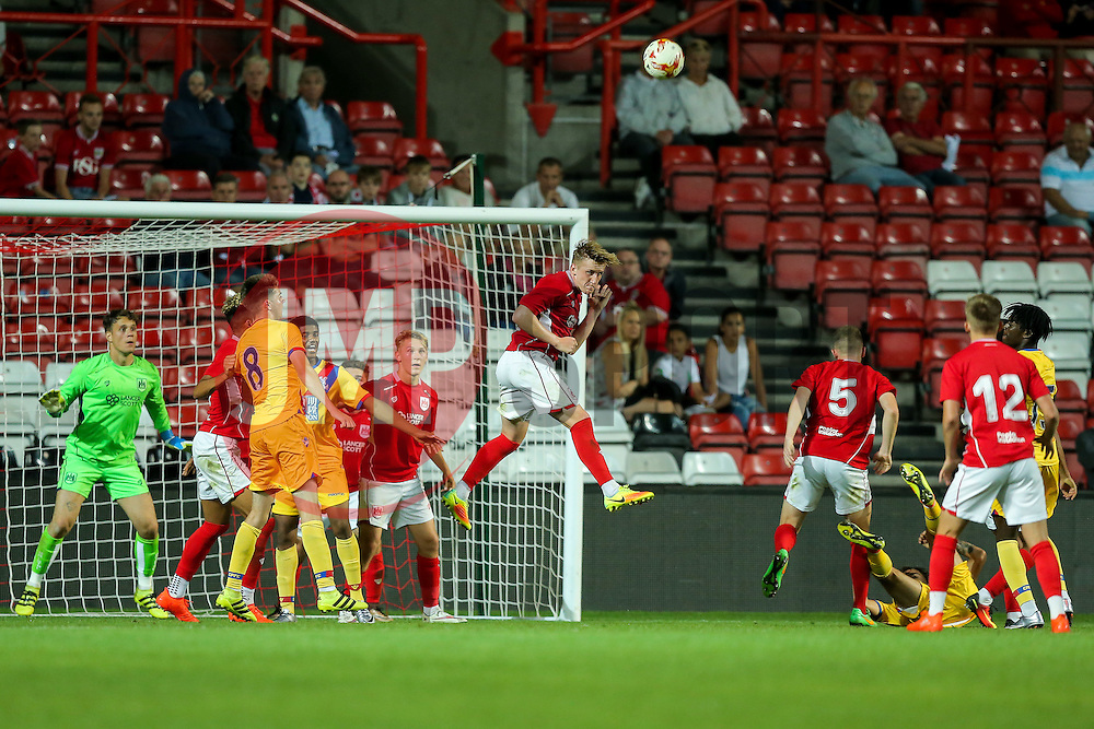 Connor Lemonheigh-Evans of Bristol City U23 clears - Rogan Thomson/JMP - 30/08/2016 - FOOTBALL - Ashton Gate Stadium - Bristol, England - Bristol City U23 v Crystal Palace U23 - U23 Professional Development League 2 (South Division).