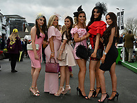 National Hunt Horse Racing - 2019 Randox Health Grand National Festival - Friday, Day Two (Ladies Day)<br /> <br /> Female racegoers arrive for Ladies Day<br /> at Aintree Racecourse.<br /> <br /> COLORSPORT/WINSTON BYNORTH