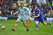 Mateo Kovacic (17) of Chelsea battles for possession with Harry Arter (7) of Cardiff City during the Premier League match between Cardiff City and Chelsea at the Cardiff City Stadium, Cardiff, Wales on 31 March 2019.