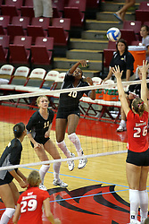 25 AUG 2007: Angie Porche strikes in the direction of Kari Staehlin. Illinois State defeated Valparaiso in 3 straight games to take the match with a shut out. The Valparaiso Crusaders visited the Illinois State Redbirds on Doug Collins Court in Redbird Arena on the campus of Illinois State University in Normal Illinois.