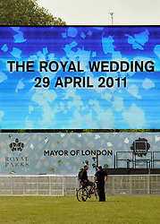 © under license to London News Pictures. LONDON, UK  28/04/2011. The Royal Wedding of HRH Prince William to Kate Middleton.  Large screens are erected in London's Hyde Park ahead of tomorrow's Royal Wedding. Photo credit should read Stephen Simpson/LNP. Please see special instructions.
