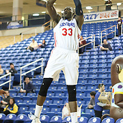 Delaware 87ers Center Hamady N'Diaye (33) takes a short range in the first half of a NBA D-league regular season basketball game between the Delaware 87ers (76ers) and the Erie BayHawks (Knicks) Tuesday, Feb. 11, 2014 at The Bob Carpenter Sports Convocation Center, Newark, DE