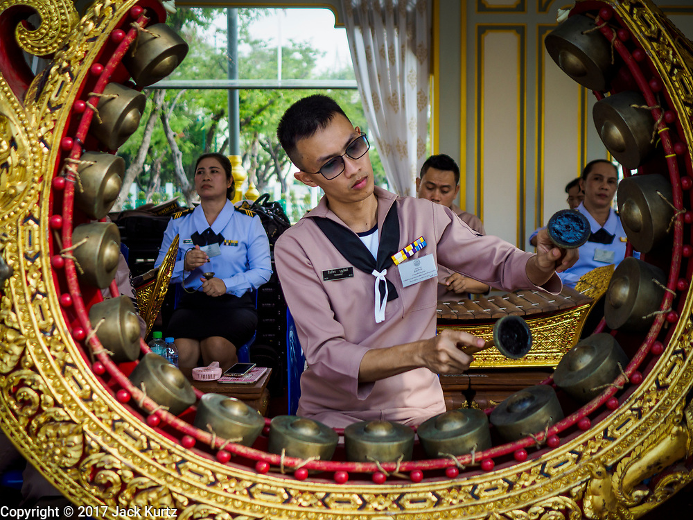 13 DECEMBER 2017 - BANGKOK, THAILAND: The Royal Thai Navy traditional music band performs at the Royal Crematorium on Sanam Luang in Bangkok. The crematorium was used for the funeral of Bhumibol Adulyadej, the Late King of Thailand. He was cremated on 26 October 2017. The crematorium is open to visitors until 31 December 2017. It will be torn down early in 2018. More than 3 million people have visited the crematorium since it opened to the public after the cremation of the King.     PHOTO BY JACK KURTZ