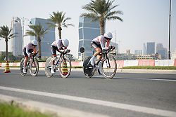 Rabo Liv approach The Pearl at the 40 km Women's Team Time Trial, UCI Road World Championships 2016 on 9th October 2016 in Doha, Qatar. (Photo by Sean Robinson/Velofocus).