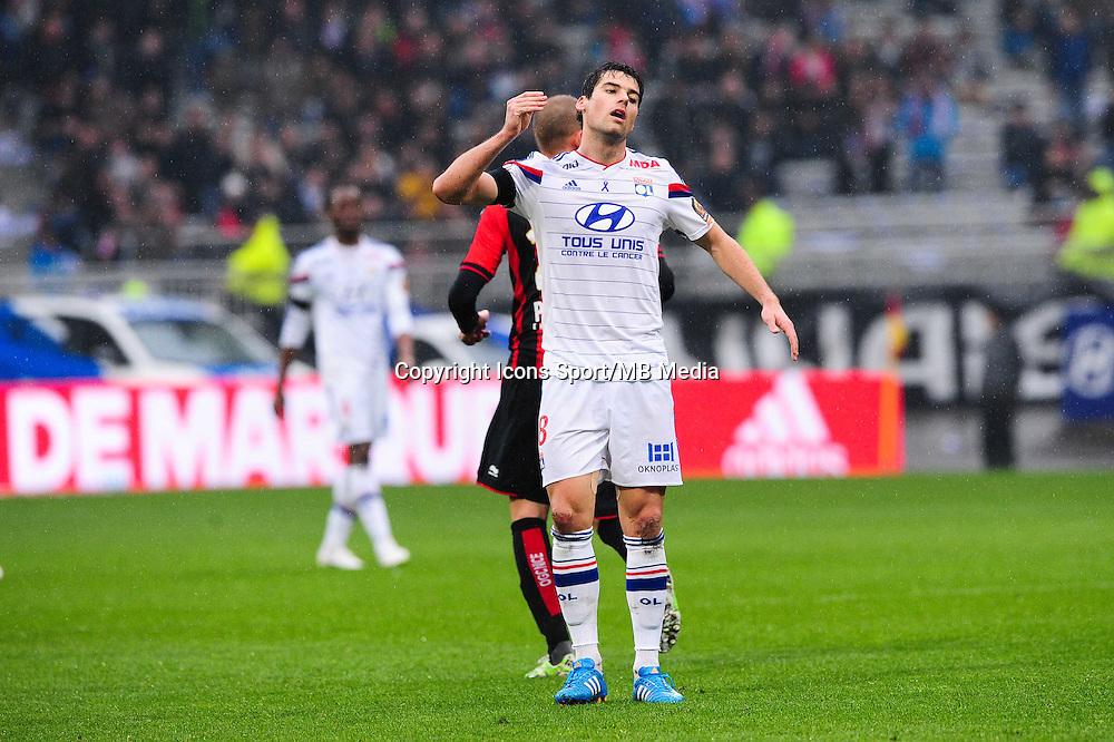 Deception Yoann GOURCUFF - 21.03.2015 - Lyon / Nice - 30eme journee de Ligue 1 -<br />Photo : Jean Paul Thomas / Icon Sport