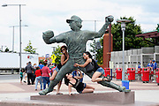 PHILADELPHIA, PA - JUNE 2: Steve Carlton statue is surrounded by adoring female fans prior to a game between the Philadelphia Phillies and Miami Marlins at Citizens Bank Park on June 2, 2012 in Philadelphia, Pennsylvania. The Marlins won 5-4. (Photo by Joe Robbins)