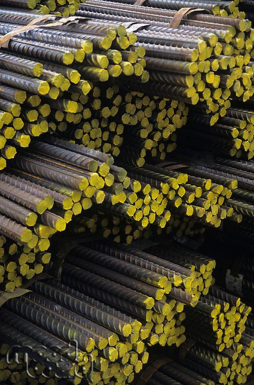 Stacks of Bundles of steel Rebar