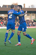 Goal celebrations during the Sky Bet League 2 match between AFC Wimbledon and Dagenham and Redbridge at the Cherry Red Records Stadium, Kingston, England on 15 November 2014.