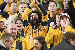 © Licensed to London News Pictures. 16/06/2012. Etihad Stadium, Melbourne Australia. An Australian fan celebrates after the Wallabies won a nailbitter during the 2nd Rugby Test between Australia Wallabies Vs Wales . Photo credit : Asanka Brendon Ratnayake/LNP