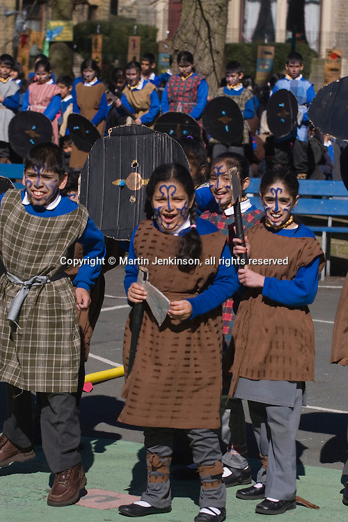 Pupils at Parkinson Lane School re-enact Boudica's Iceni battle with  Roman Legions. ..© Martin Jenkinson, tel 0114 258 6808 mobile 07831 189363 email martin@pressphotos.co.uk. Copyright Designs & Patents Act 1988, moral rights asserted credit required. No part of this photo to be stored, reproduced, manipulated or transmitted to third parties by any means without prior written permission