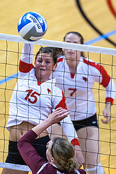 05 November 2010: Kristin Stauter during an NCAA volleyball match between the Southern Illinois Salukis and the Illinois State Redbirds at Redbird Arena in Normal Illinois.