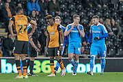 Dave Edwards (Wolverhampton Wanderers) and Matty Doherty (Wolverhampton Wanderers) celebrate scoring Wolves' equalising goal, 1-1 during the Sky Bet Championship match between Hull City and Wolverhampton Wanderers at the KC Stadium, Kingston upon Hull, England on 15 April 2016. Photo by Mark P Doherty.