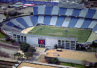 Aerial view of Cotton Bowl Stadium, historic Football stadium in Fair Park, outside Dallas Texas