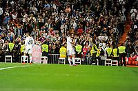 Real Madrid´s Alvaro Arbeloa celebrate a goal during 2014-15 La Liga match between Real Madrid and Almeria at Santiago Bernabeu stadium in Madrid, Spain. April 29, 2015. (ALTERPHOTOS/Luis Fernandez)