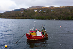 Aerial view of village of Portincaple on shore of Loch Long in Argyll and Bute, Scotland, UK