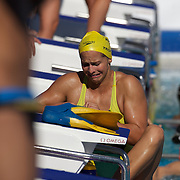 Libby Trickett, Australia, having goggle trouble while training at the World Swimming Championships in Rome on Monday, July 27, 2009. Photo Tim Clayton.