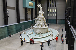 """© Licensed to London News Pictures. 30/09/2019. LONDON, UK.  Preview of """"Fons Americanus"""" by Kara Walker, which has been unveiled as this year's Hyundai Commission at Tate Modern.  The work is a monumental 13 metre-high fountain presenting the origin story of the African diaspora and includes sculptural figures derived from an array of historical, literary and cultural sources.  The work, also inspired by the Victoria Memorial outside Buckingham Palace, is on display 2 October to 5 April 2020.  Photo credit: Stephen Chung/LNP"""