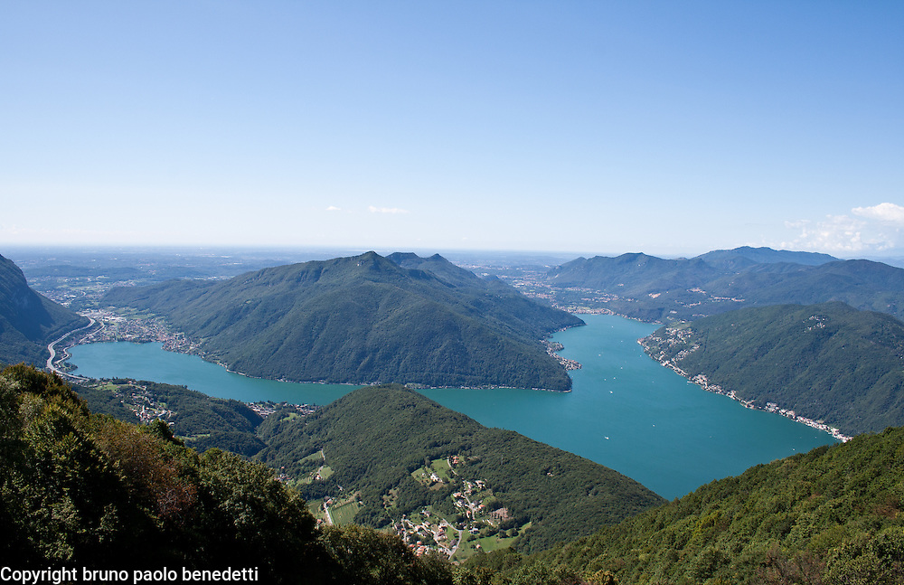Lugano lake view from mount Sighignola with Swiss and Italian branch