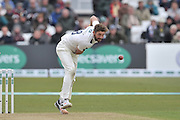 Liam Plunkett following through during the Specsavers County Champ Div 1 match between Nottinghamshire County Cricket Club and Yorkshire County Cricket Club at Trent Bridge, West Bridgford, United Kingdon on 1 May 2016. Photo by Simon Trafford.
