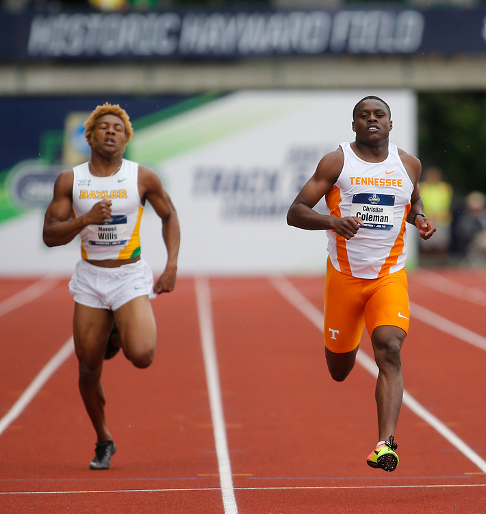 Tennessee's Christian Coleman cruises across the finish line during a heat of the men's 100 meter on the first day of the NCAA college track and field championships in Eugene, Ore. on Wednesday, June 7, 2016 Earlier Coleman ran a 9.82 in the 100 meter, which set a new collegiate record. (AP Photo/Timothy J. Gonzalez)