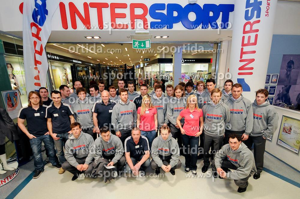 Team Slovenia with members of Intersport at Presentation of Slovenian Ice Hockey Team at Mercator Center, on April 22, 2011, in Mercator Center, Ljubljana, Slovenia. (Photo by Matic Klansek Velej / Sportida)