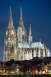 Night view of floodlit Cologne Cathedral in Germany
