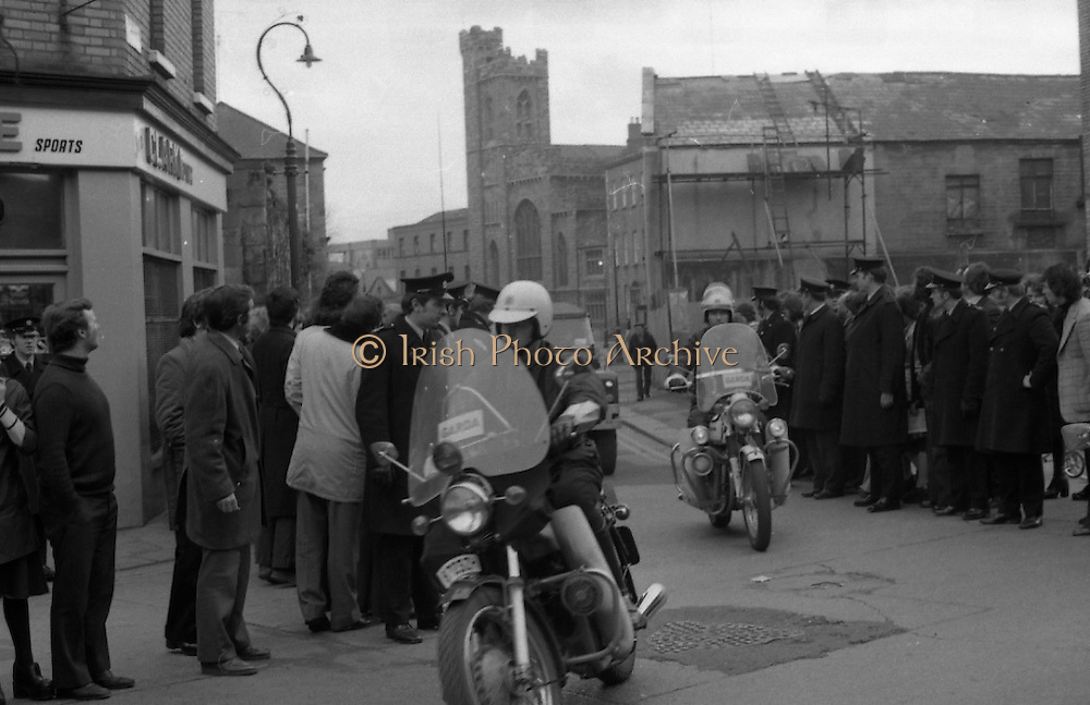 Dr Herrema Kidnap Trial Begins.    K9..1976..23.02.1976..02.23.1976..23rd February 1976..After a period of incarceration, the trial of Eddie Gallagher finally got under way at the Special Criminal Court, Green Street, Dublin. Gallagher was charged with the kidnap of the Dutch Industrialist, Dr Tiede Herrema. The kidnap ended with the release of Dr Herrema after a siege at Monasterevin, Co Kildare...A motorcycle escort leads the escort of the van, containing Eddie Gallagher,into Green Street and the Special Criminal Court.