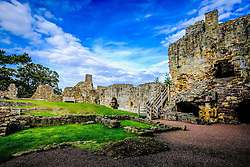 Dirleton Castle, a ruined medieval fortress in the village of Dirleton, East Lothian, Scotland.<br /> <br /> (c) Andrew Wilson | Edinburgh Elite media