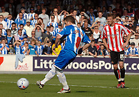 Photo: Ashley Pickering.<br /> Colchester United v Sunderland. Coca Cola Championship. 21/04/2007.<br /> Jamie Cureton slots home Colchester's third goal from the penalty spot (3-1)