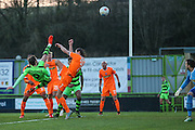 Forest Green Rovers Christian Doidge(9) shoots at goal misses the target during the Vanarama National League match between Forest Green Rovers and Braintree Town at the New Lawn, Forest Green, United Kingdom on 21 January 2017. Photo by Shane Healey.