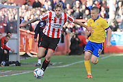 Harry Pell and Terry Hawkridge during the Vanarama National League match between Cheltenham Town and Lincoln City at Whaddon Road, Cheltenham, England on 30 April 2016. Photo by Antony Thompson.
