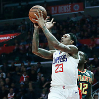 08 January 2018: LA Clippers guard Lou Williams (23) goes for the jump shot past Atlanta Hawks forward Taurean Prince (12) during the LA Clippers 108-107 victory over the Atlanta Hawks, at the Staples Center, Los Angeles, California, USA.