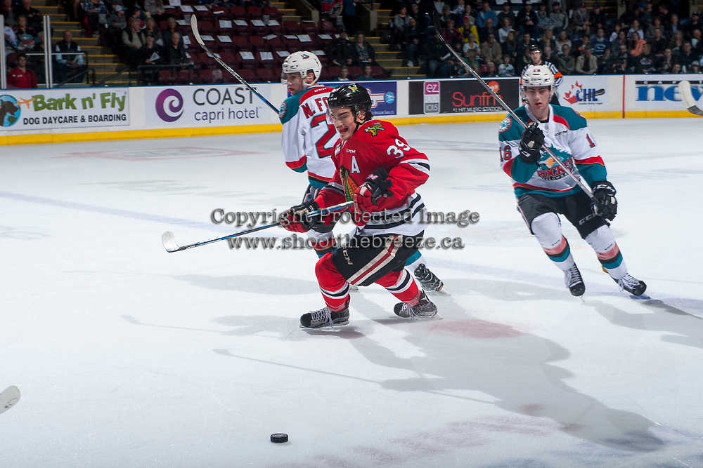 KELOWNA, CANADA - APRIL 7: Colton Veloso #39 of the Portland Winterhawks skates for the puck during first period against the Kelowna Rockets on April 7, 2017 at Prospera Place in Kelowna, British Columbia, Canada.  (Photo by Marissa Baecker/Shoot the Breeze)  *** Local Caption ***