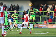 Forest Green Rovers Drissa Traoré(4) heads the ball clear during the EFL Sky Bet League 2 match between Forest Green Rovers and Cheltenham Town at the New Lawn, Forest Green, United Kingdom on 25 November 2017. Photo by Shane Healey.