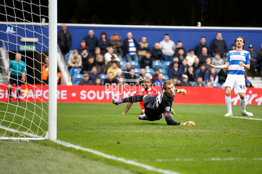 Queens Park Rangers goalkeeper Alex Smithies (25)  watches as Charlton Athletic Callum Harriott's (11) shot comes close to equalising during the Sky Bet Championship match between Queens Park Rangers and Charlton Athletic at the Loftus Road Stadium, London, England on 9 April 2016. Photo by Andy Walter.