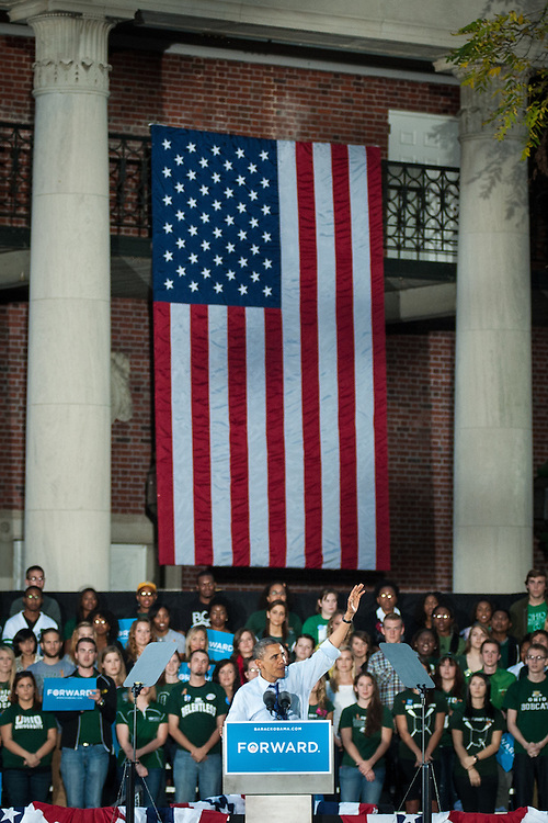 President of the United States Barack Obama speaks to a crowd of nearly 14,000 on Ohio University's College Green in Athens, Ohio, on Wednesday, October 17, 2012.  (© 2012 Brien Vincent)