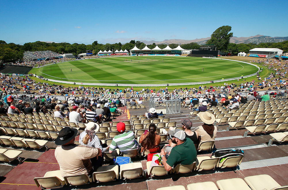 General Veiw during the ICC Cricket World Cup warm up game between New Zealand v South Africa at Hagley Oval, Christchurch. 11 February 2015 Photo: Joseph Johnson / www.photosport.co.nz