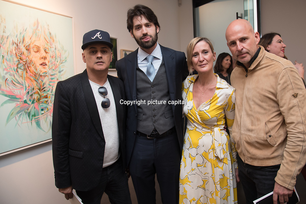Left to right He a PR,Rob Phoenix,Nick jeffries and Lee Sharrock PR attend the Art On The Mind - Private view of an exhibition and auction which benefits homeless charity, Cardboard Citizens.