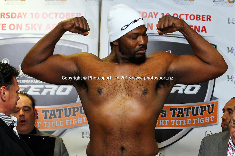 Julius Long, Weigh In ahead of tomorrow nights Hydr8 Zero, Parker v Tatupu boxing match for the NZNBF title, Trusts Stadium, Auckland, 9 October 2013. Photo: William Booth/www.photosport.co.nz