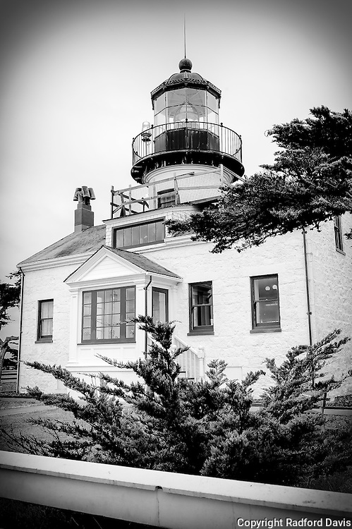 Point Pinos Lighthouse, Monterey, California. Black and white.