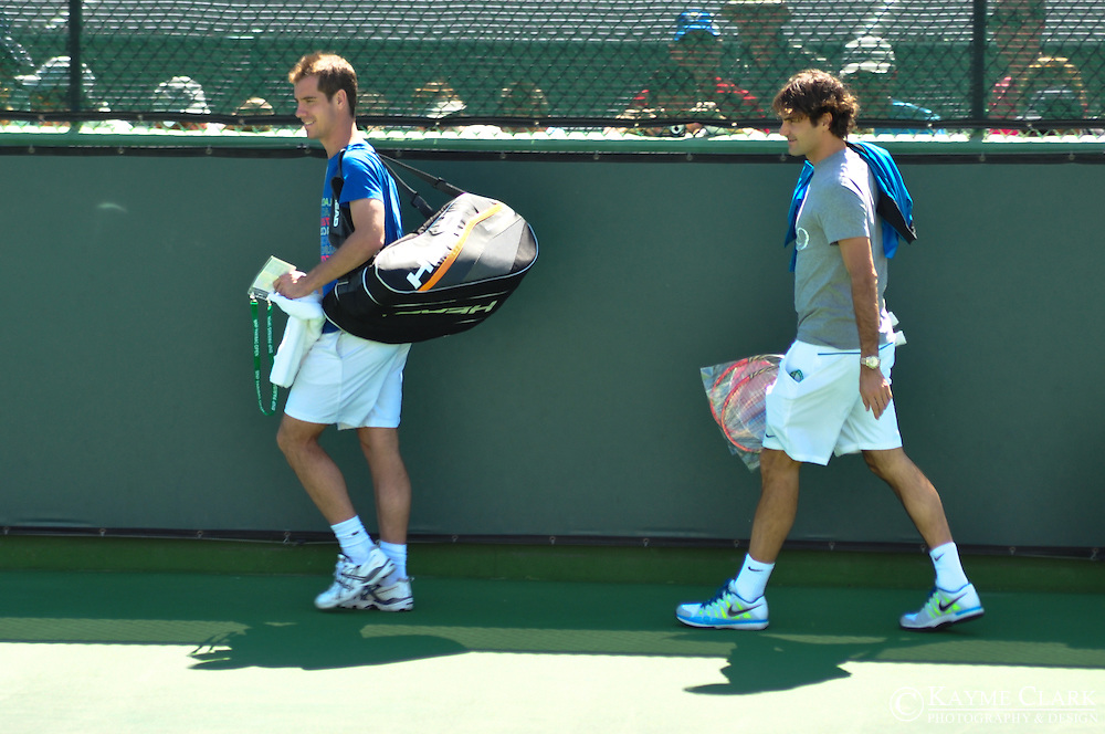 Roger Federer and Richard Gasquet at the BNP Paribas Open in Indian Wells, California.