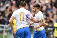 Esultanza di Tommaso Allan Italy<br /> Roma 17-03-2018, Stadio Olimpico<br /> Rugby 6 Nations Tournament <br /> Italia - Scozia / Italy - Scotland<br /> <br /> Foto Antonietta Baldassarre Insidefoto